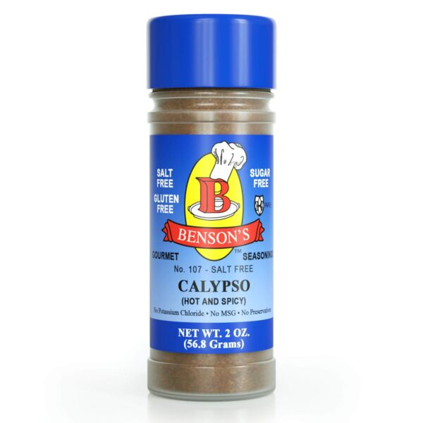 Calypso Jamaican/Caribbean Hot & Spicy Salt Free Seasoning 2 oz Bottle