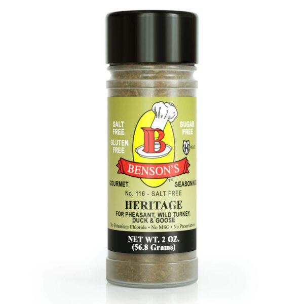 Heritage Game Bird & Poultry Salt Free Seasoning 2 oz Bottle
